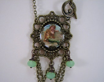 Handmade Necklace, Mermaid Necklace, Gift for Her, Handmade Jewelry, Handmade Pendant
