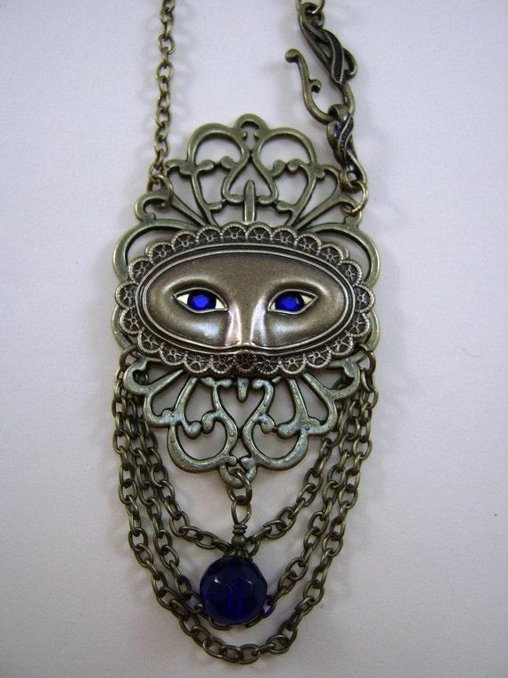 "Mardi Gras, Masquarade, ""Carnival"", Filigree Mask Necklace"