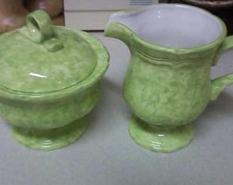 Mikasa Country Charm Broccoli Sugar Bowl and Creamer