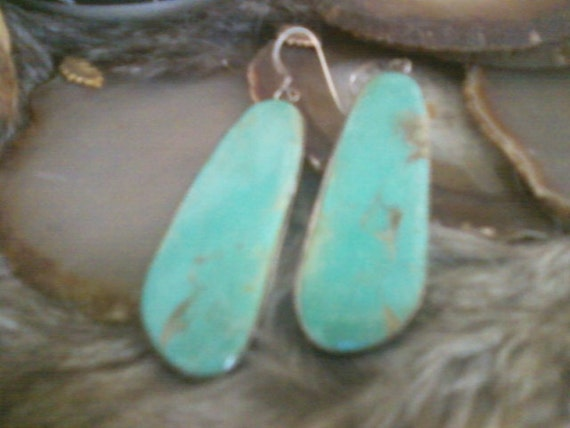 SALE - Vintage late 80s or early 90s Turquoise Slab earrings rimmed in silver and signed from Santa Fe