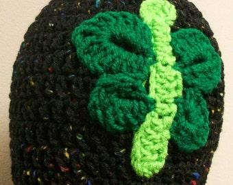 Black Green Butterfly Ladies Crochet Toque Winter Skullcap