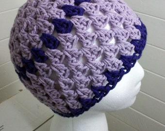 Lilac Cotton Beanie Purple OpenWork Hat Summer Skullcap