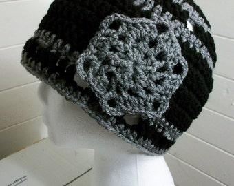Black Gray Snowflake Croche Beanie