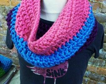 Pink Blue Purple Chunky Crochet Cowl