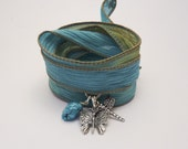 Silk Ribbon Bracelet with Butterfly, Dragonfly, and Turquoise Nugget