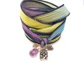 Silk Ribbon Wrap Bracelet with Lotus Charm,yoga jewelrywrapped wrapping bracelet, wrap around,wrist wrap