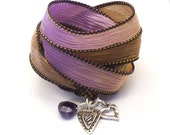 Silk Ribbon Bracelet with Hearts and Amethyst Briolette,yoga jewelry,wrapped, wrapping, wrap around