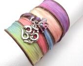 Hand Dyed Silk Ribbon Bracelet with Om Charm,yoga jewelry,wrapped, wrapping, wrap around,wrist wrap