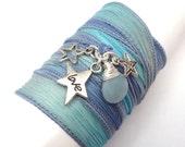 Silk Ribbon Wrap Bracelet with Star Charms, wrapped wrapping bracelet, wrap around,wrist wrap