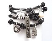 Black Leather Wrap Bracelet with Harmony Charm,yoga jewelry,wrapped, wrapping, wrap around,wrist wrap