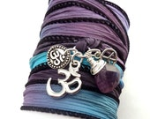 Hand Dyed Silk Wrap Bracelet with Silver Om Charms, Peace Sign and Amethyst, yoga jewelry, wrapped wrapping bracelet, wrap around,wrist wra