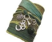 Silk Wrap Bracelet with Om Charms, Peace Sign, and Jade, yoga jewelry, wrapped wrapping bracelet, wrap around,wrist wrap