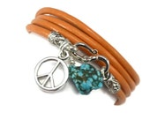 Orange Leather Wrap Bracelet with Turquoise and Peace Sign,yoga jewelrywrapped wrapping bracelet,wrapped, wrapping, wrap around
