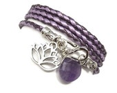 Purple Braided Leather Wrap Bracelet with Lotus Flower and Amethyst Briolette,yoga jewelry, wrapped wrapping,wrist wrap