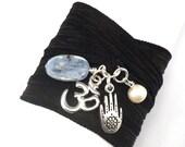 Silk Ribbon Wrap Bracelet with Silver Om and Hamsa, Pearl, and Kyanite, yoga jewelry, bohemian jewelry,