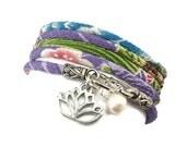 Wrap Bracelet with Lotus Flower Charm, Japanese Chirimen , yoga jewelry, wrapped wrapping bracelet, wrap around
