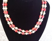 Vintage Double Strand Pink Beaded and Crystal Necklace