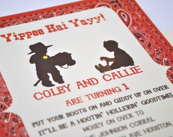 Cowboy and Cowgirl Birthday Invitation