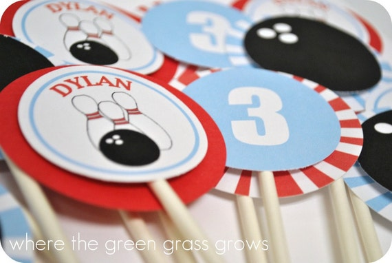 Bowling Cupcake Toppers