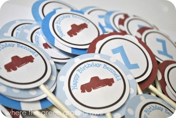 Vintage Truck Cupcake Toppers