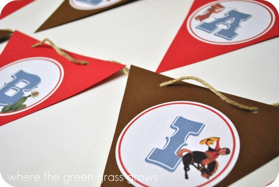 Vintage Cowboy and Indian Banner (Bunting)
