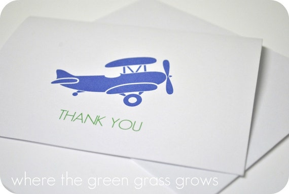 Airplane Thank you Cards - READY TO SHIP note cards plane cards airplane stationary airplane birthday airplane party