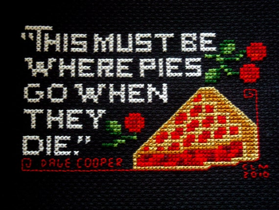 Twin Peaks Pie Quote: Twin Peaks Cherry Pie Quote Cross Stitch PDF Pattern From