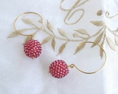 Hot Pink - Beads ball - Round hook - 14k gold filled - Earrings