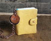 Sky, tiny leather journal book, handmade, miniature, jewelry art, necklace, accessory, JunqueTreasures