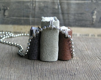Trio, tiny leather  journals or books, handmade, miniature, jewelry art, necklace, accessory, JunqueTreasures