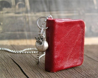 Apple, tiny leather journal book for a necklace, handmade, miniature, jewelry art, accessory, steampunk, JunqueTreasures