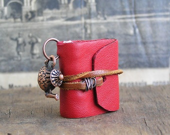 Tea time, tiny leather journal book, handmade, miniature, jewelry art, necklace, accessory, JunqueTreasures