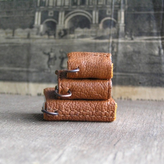 Trio...  tiny leather  journals or  books for necklace