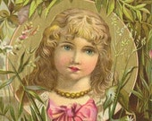 RESERVED LISTING - Victorian Trade Card Friends Soap Cherub Face Curly Blonde Haired Girl Moonlight over the water
