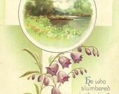 Ellen Clapsaddle Vintage Easter Postcard - purple flowers cross and country scene 1914 IAPC