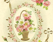 Vintage Birthday Postcard - Gold flower basket with pink and white roses Birn Brothers