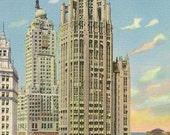 CHICAGO 2 Unused Vintage Linen Postcards - Tribune Tower and Board of Trade