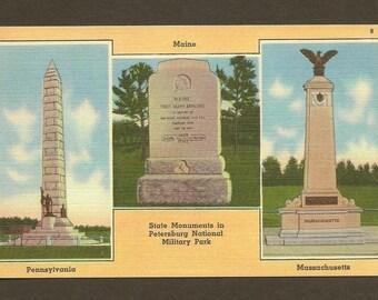 State Monuments in Petersburg National Military Park  unused vintage linen postcard