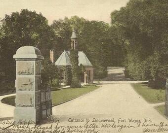 FORT WAYNE Indiana Vintage Postcard 1907 UDB Entrance to Lindenwood