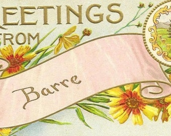 Vintage Postcard A S Meeker - Greetings from BARRE Vermont -  Unused