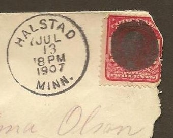 Vintage Paper Ephemera ~ Postal History - Cover HALSTAD Minn to MAYVILLE North Dakota 1907 and Cork Cancel