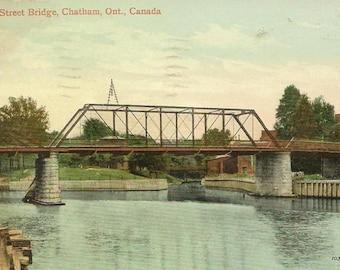 Vintage Postcard CHATHAM Ontario Fifth Street Bridge 1911 Chatham CDS