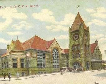 SYRACUSE New York NYCRR Depot on Vintage Postcard 1908 Kenwood NY Cancel