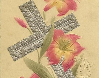 Bas Relief Vintage Easter Postcard - Silver Cross and salmon pink lilies 1911 Embro Ontario Cancel