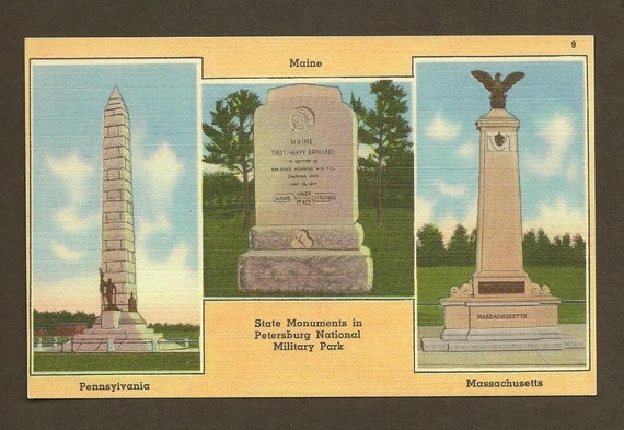State Monuments in Petersburg National Military Park  unused vintage linen postcard