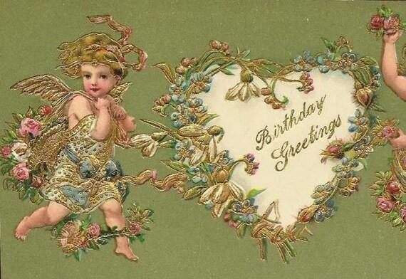 Lavish Vintage Birthday Greetings Postcard - Cherubs and floral heart
