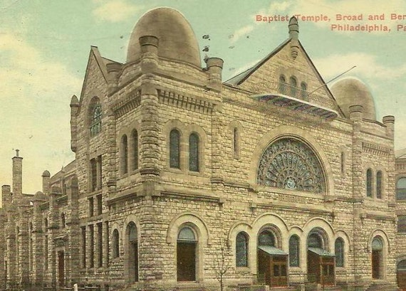 PHILADELPHIA Vintage Postcard - Baptist Temple, Broad and Berks Sts 1914 Passyunk Station Cancel