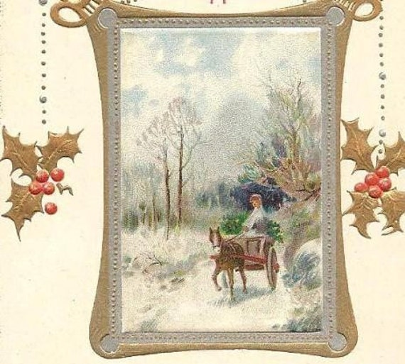 1914 Cancel on Birn Brothers Embossed Vintage Christmas Postcard - Horse Drawn Cart
