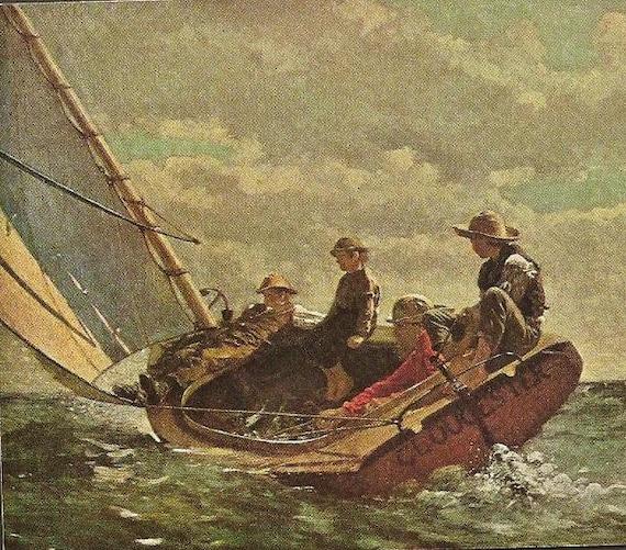 Vintage Postcard Winslow Homer -  BREEZING UP Unused Vintage Art Postcard