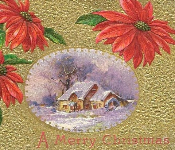 Red Poinsettias Lavish Gold Background Inset of snow covered mill - Beautiful Vintage Christmas Postcard cancelled 1911